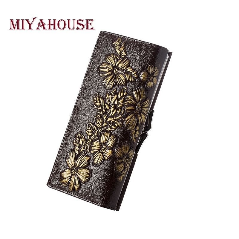 Miyahouse Fashion Floral Carved Design Leather Wallet Women Genuine Leather Card Holder Wallet Female Long Design Lady Clutches