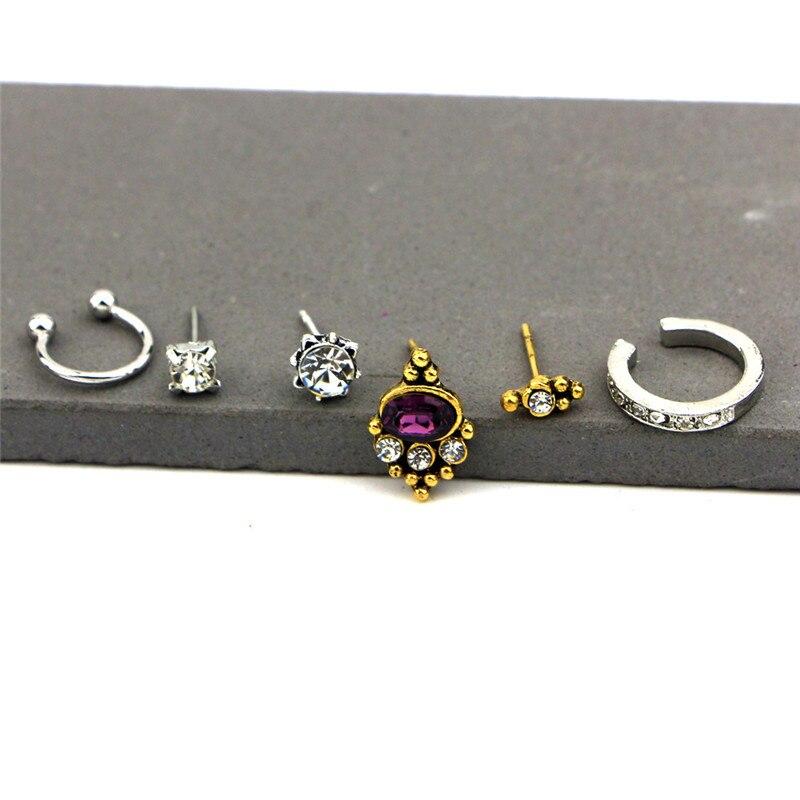 Hot Sale Vintage Bohemian Clip On Sun Charm Earring Set Crystal Stud Earrings For Women Ear Jewelry 6Pcs Set New Fashion 2019 in Stud Earrings from Jewelry Accessories