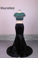 Sophoeniya Short Sleeves Two Pieces Prom Dresses 2017 Bohemian Style Sexy Mermaid Prom Dress Formal Evening