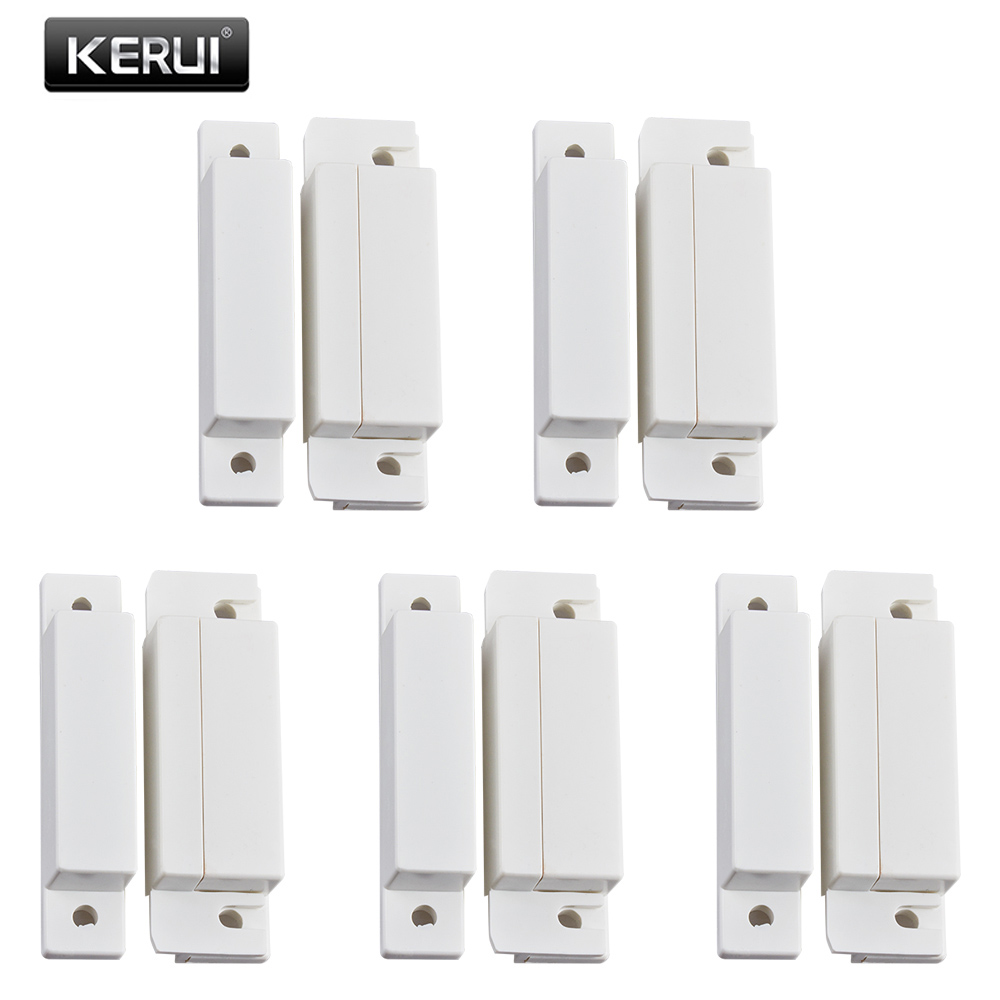 KERUI 5pcs/lot Wired Door Sensor 433Mhz Magnetic Sensor Switch Wired Door Detector Work With PTSN GSM Alarm System