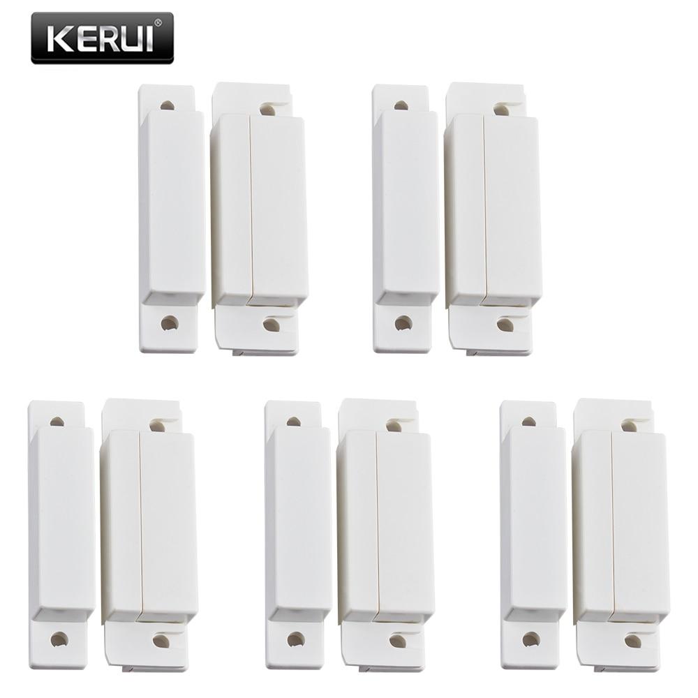 KERUI 5pcs/lot Wired Door Sensor 433Mhz Magnetic Sensor Switch Wired Door Detector Work With PTSN GSM Alarm System