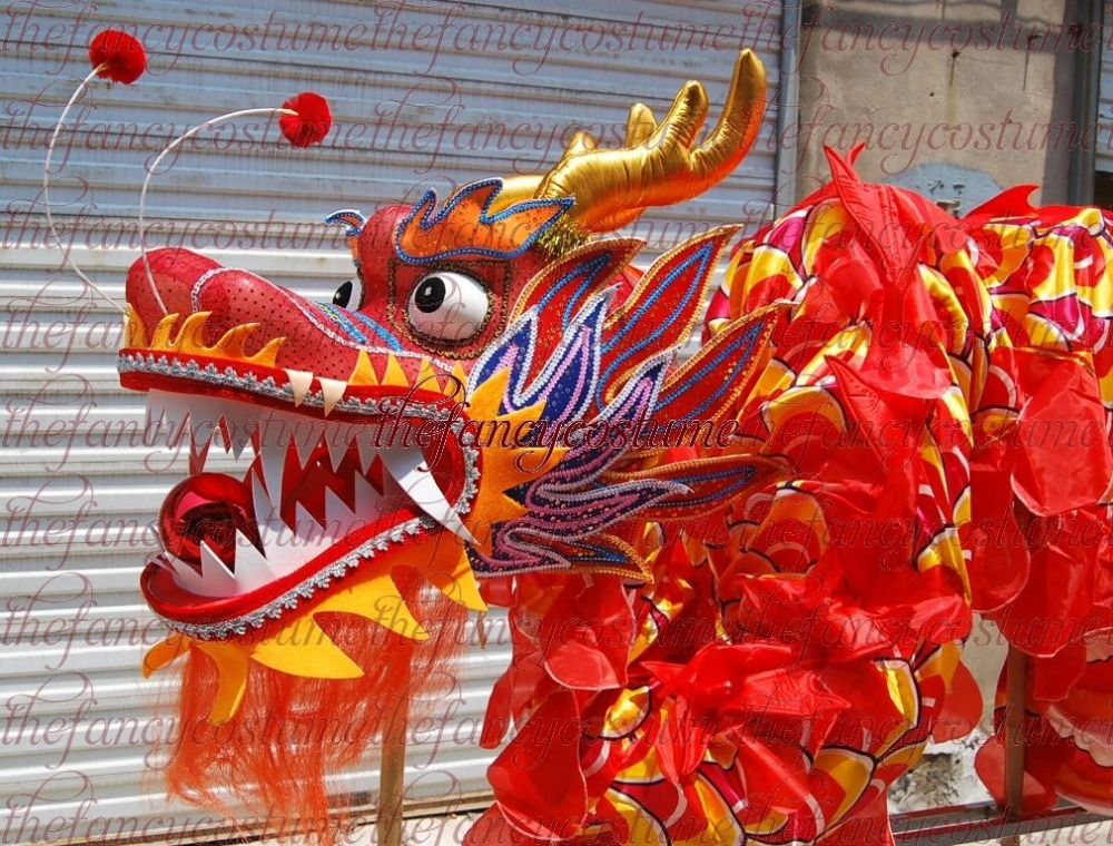 Adult Player Size 4  Silk Frabic Chinese DRAGON DANCE ORIGINAL Dragon Chinese Folk Festival Celebration Dragon Costume