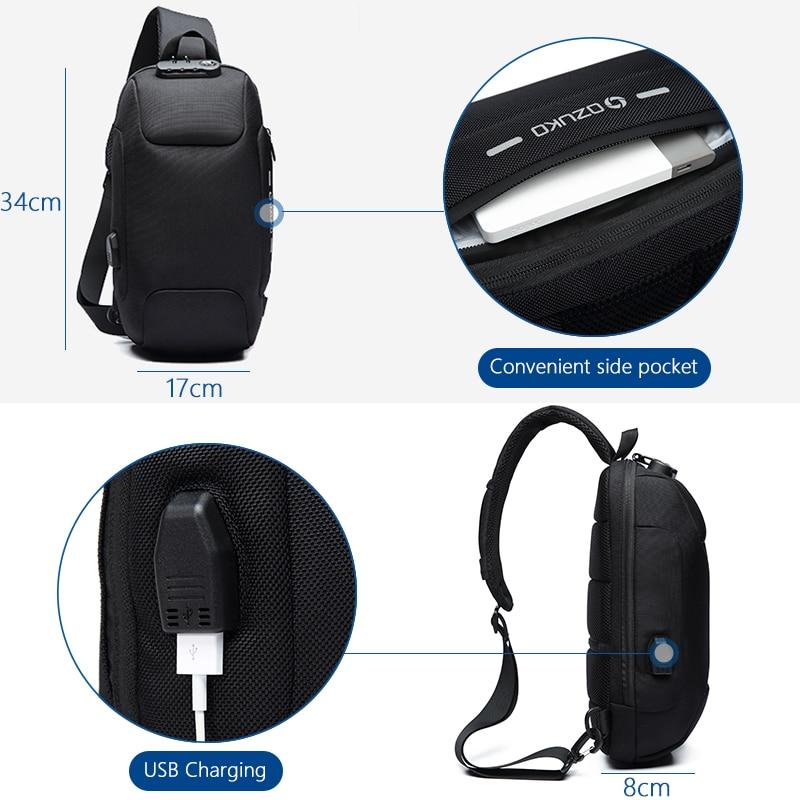 Multifunction Crossbody Bag for Men Anti-theft Shoulder Messenger Bags Waterproof 4