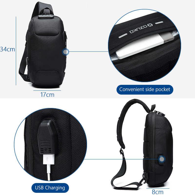 OZUKO 2019 Neue Multifunktions Umhängetasche für Männer Anti-theft Schulter Messenger Taschen Männlichen Wasserdichte Kurze Reise Brust Tasche pack