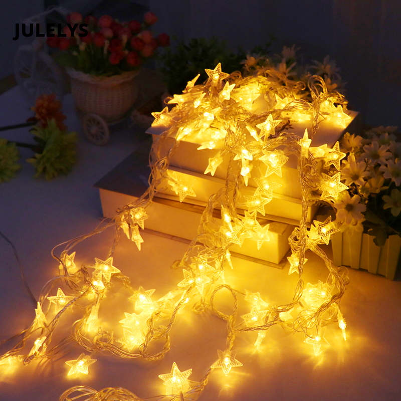 JULELYS 30M 300 Bulbs Garland LED Star String Lights Christmas - Holiday Lighting