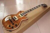 Новое прибытие G Custom Shop натурального дерева Топ Les электрогитара черный оборудования Paul Гитары, Пользовательские LP Гитары