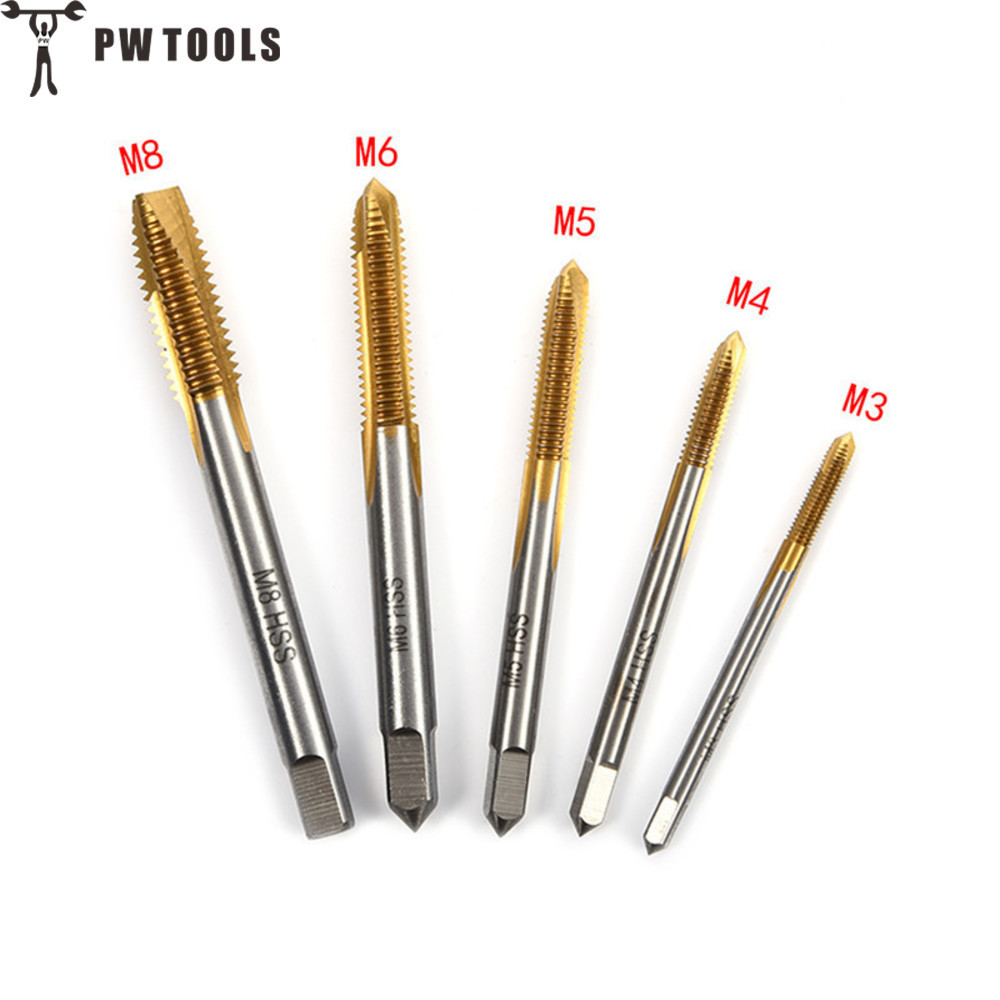 PW TOOLS 5pcs HSS Titanium Machine Right Hand Tap Drill 3 Flute M3 M4 M5 M6 M8 Spiral Point Thread Plug Handle Taps Die Set