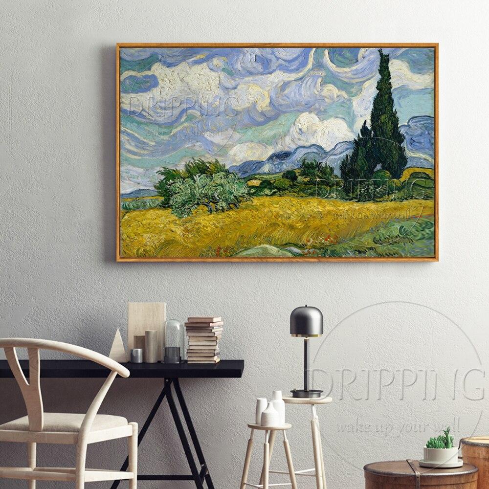 الانطباعي النفط اللوحة رسمت باليد المشهد حقل القمح مع السرو فان جوخ اللوحة حقل القمح مع السرو-في الرسم والخط من المنزل والحديقة على  مجموعة 3