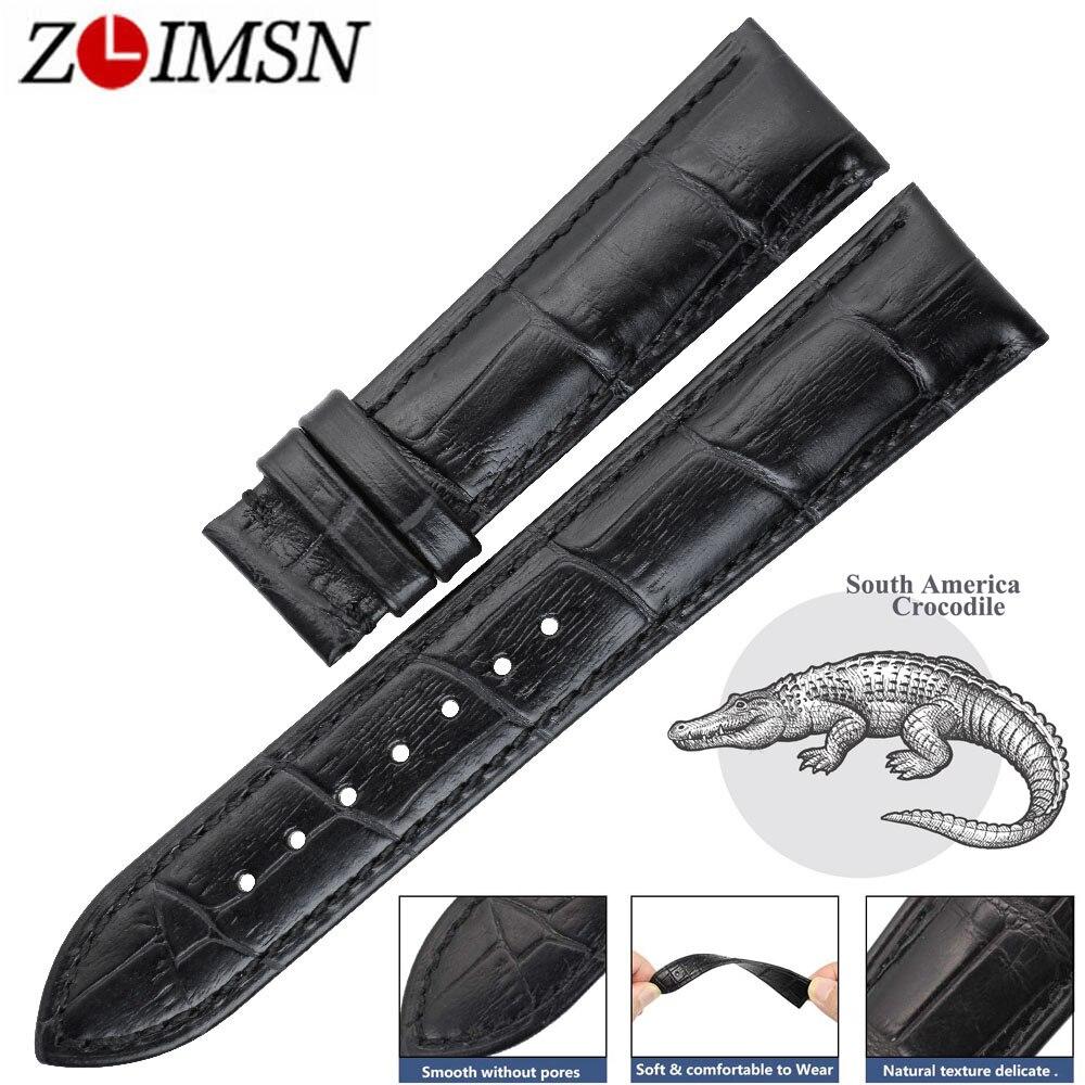 ZLIMSN Amérique Du Sud Crocodile En Cuir Black Watch Bande Poignet 14-24mm Approprié Pour OMÉGA Longines Véritable Alligator Bracelet