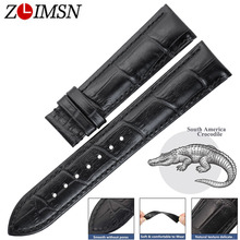 цены ZLIMSN South America Crocodile Leather Watch Black Band Wrist 14 - 24mm Suitable For OMEGA Longines Genuine Alligator Watchband