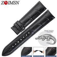 Часы zlimsn из крокодиловой кожи черный браслет для наручных