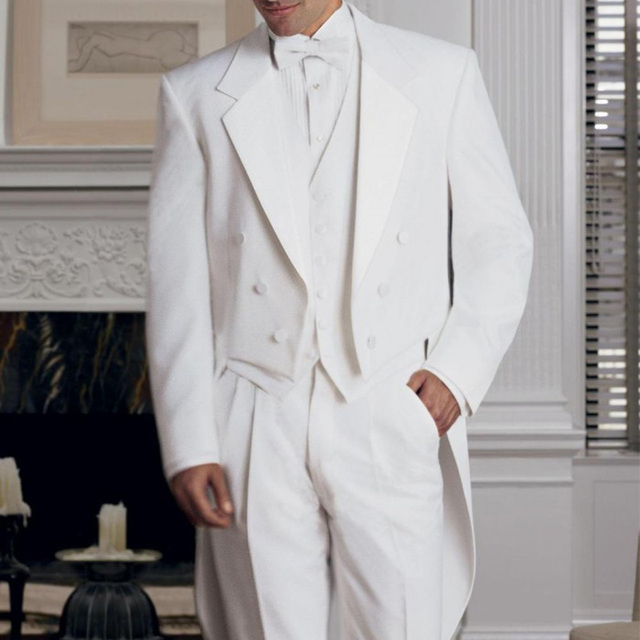 ffc075a426e White Wedding Groom Men Tail Coat 2019 Double Breasted 3 Piece Custom Made  Mens Suits Jacket Pants Vest Notched Lapel