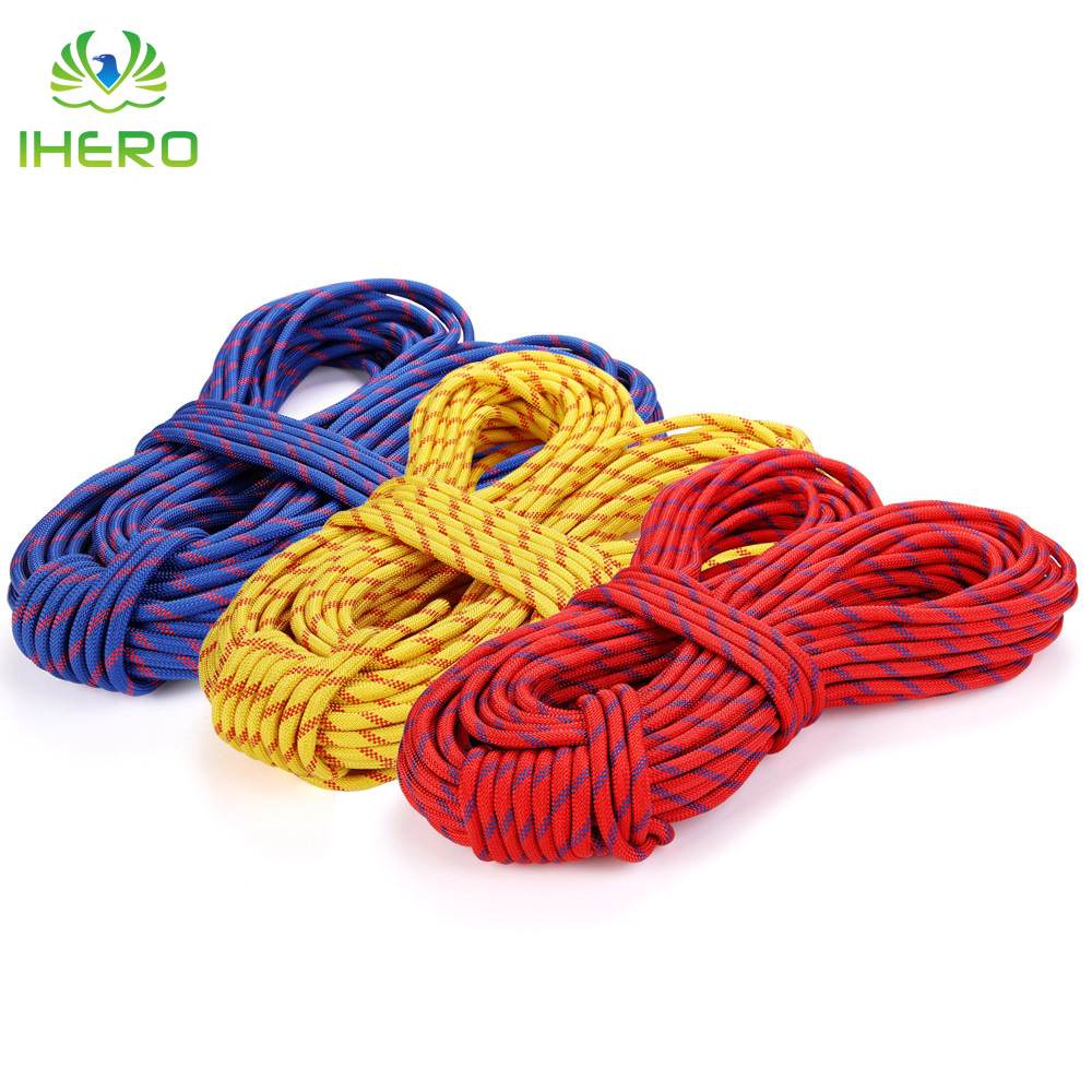 10.5mm Static Rope Professional Nylon Polyester Rock Climbing Rope Safety Rappelling Paracord Rope Outdoor Rescue Rope 26KN multifunctional professional handle pulley roller gear outdoor rock climbing tyrolean traverse crossing weight carriage fit