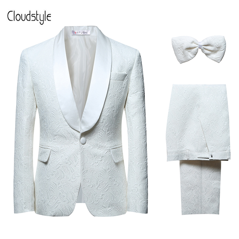 Cloudstyle 2018 New Men's Suits Formal White Wedding Groom