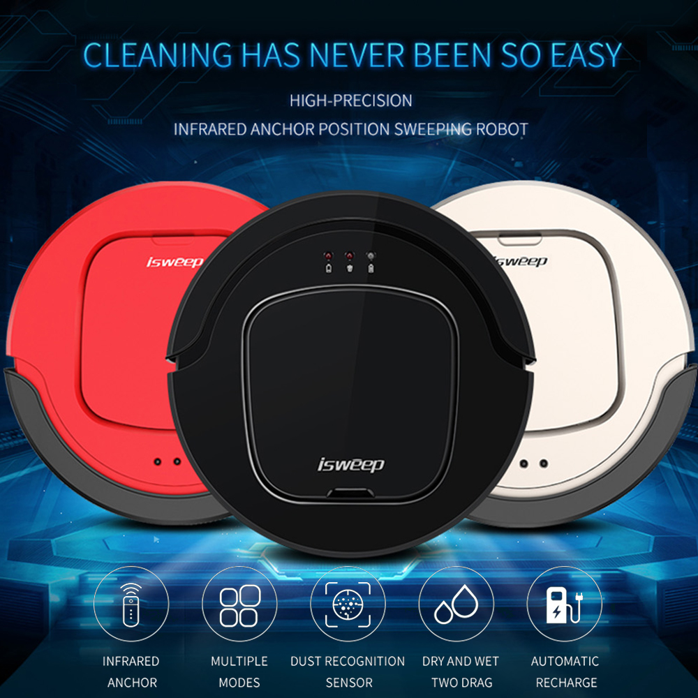 ISWEEP S550 Robot Vacuum Cleaner Auto Smart Home Appliances With Infrared Remote Control Self Charging Dry Wet Multiple Modes