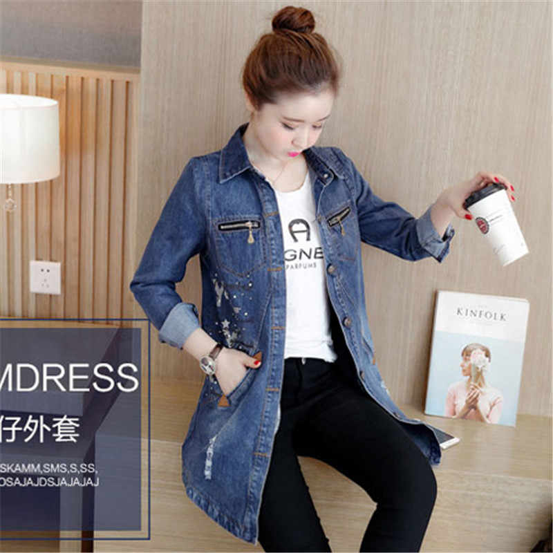 Spring Women Windbreaker 2019 New Fashion Medium Long Slim Female Denim Outerwear Single-Breasted Large Size Ladies Trench Qw039