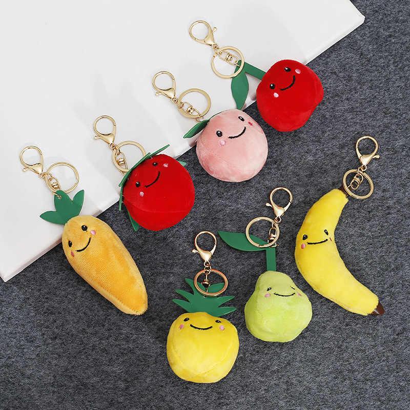 2019 neue Heißer Verkauf erdbeere Ananas Frucht Keychain Gemüse Plüsch Paar Schlüssel Kette Tasche Anhänger Auto Anhänger Schmuck Geschenk
