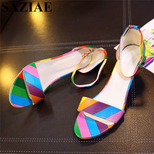 [SAZIAE]2017 Fashion Women Shoes Buckle Sandals Thin Heels Mixed Color Sexy Sandals Summer Slippers Shoes Woman  Leather Sandals