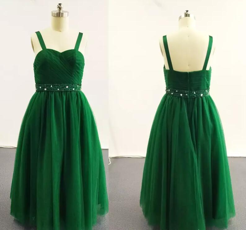 Ball Gown Little Girl Pageant Dresses Double Strapped Beaded Pleated Ruched Tulle Dress Green Long Mother Daughter Dresses huf сандалии