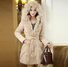 2014 Fashionable Women Luxury Style Long Winter Parkas Ladies Fur Collar Outerwear WT4422