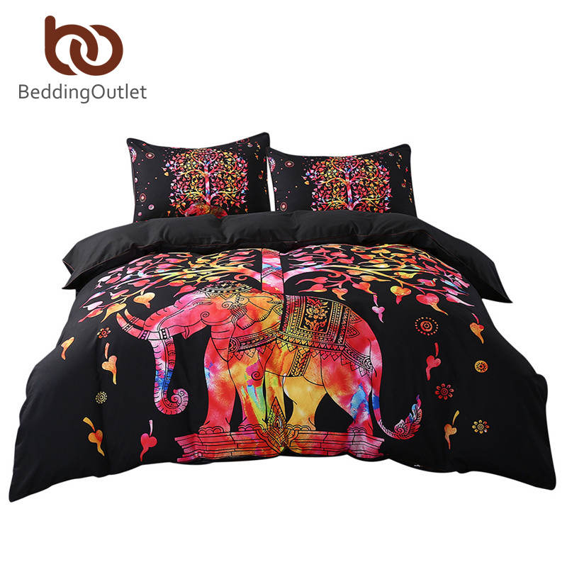 BeddingOutlet Black Bedding Set Colorful Bohemian Print Duvet Cover and Pillowcase Indian Elephant Exotic Bedclothes Multi Sizes