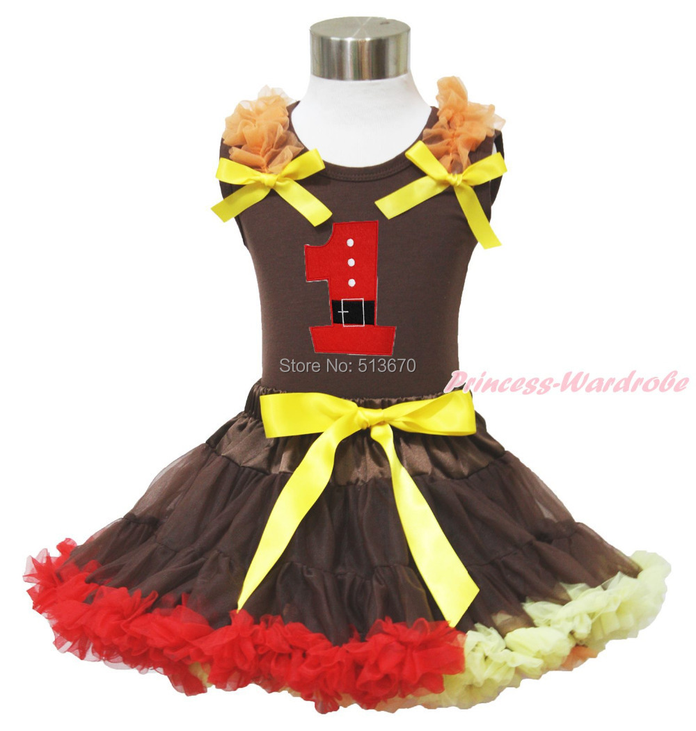 Xmas Santa Claus 1ST Brown Top Baby Girl Pettiskirt Outfit 1-8Y MAPSA0036 цена и фото