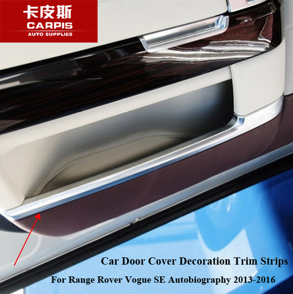ABS Chrome Car Door Cover Decoration Trim Strips Car Interior Mouldings For Range Rover Vogue SE Autobiography 2013-2017 Styling car styling abs chrome car door cover decoration trim strips car interior mouldings for land rover discovery 4 2010 2016