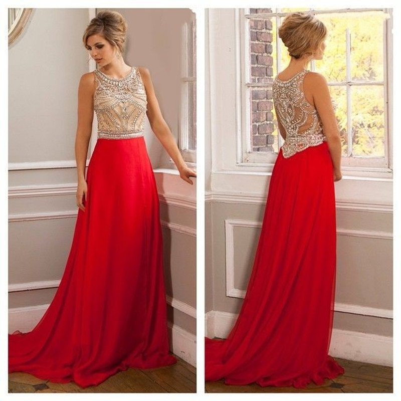 4c7cc343d12 Heavy beaded scoop neck floor length tank long red prom dresses 2015 sweep  train vestido de festa chiffon evening party gowns-in Prom Dresses from  Weddings ...