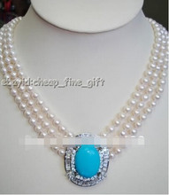 737 3 rows white fw pearl turquoise&Rhinestone necklace(China)