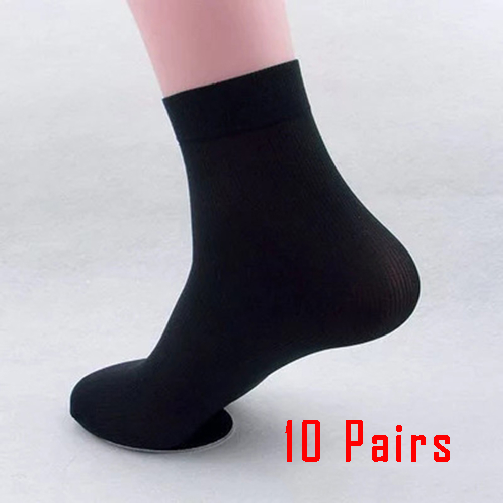 10 Pairs Summer   Socks   Men Casual Business Ultra-thin Elastic Silky Bamboo Fiber Stockings Middle   Socks   Black White 5 Colors