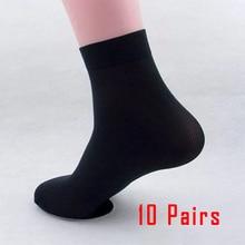 10 Pairs black men's socks winter high quality business Silky Bamboo Fiber Socks Casual Ultra-thin Elastic Male Cool Socks