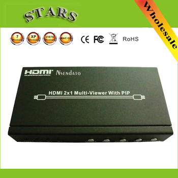 Mini 2 in 1 out HDMI 1.3 Splitter HD 1080P HDMI 2x1 Multi-Viewer with PIP power adapter support DVD PS3 RS232 HDTV,free shipping