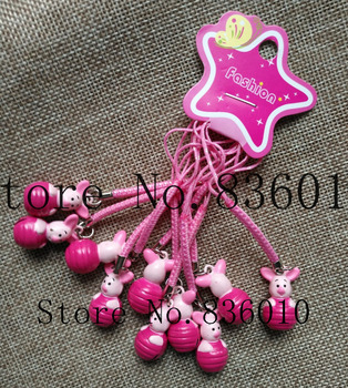 Hot Sale 50 pcs Cartoon Pig Charms Bell Pendant With Strap Cellphone Key Chains Toy XX-22