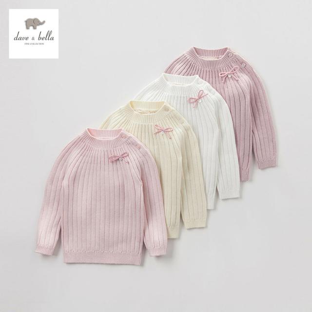 DB4671 dave bella otoño bebé niñas sólido suéter de algodón de lana rosa beige tela