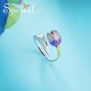 Image 3 - 特別なブランドファッションエナメル花リング紫チューリップエンドオープンリングサイズ調整可能な女性S1720R