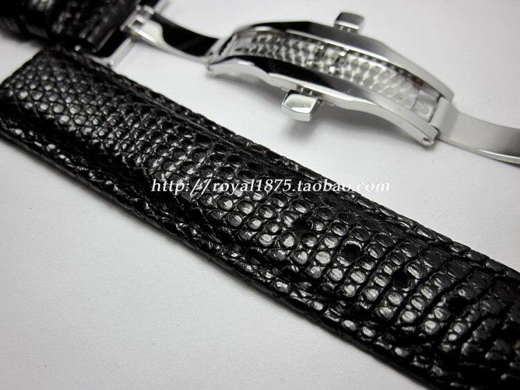 Quality butterfly buckle genuine lizard leather strap, 18mm 19mm 20mm 21mm 22mm Black Calfskin leather Strap lizard сандали hike 36 feel black grey