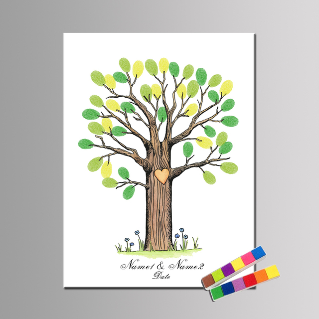 personalized name date cartoon tree fingerprint diy guestbook for