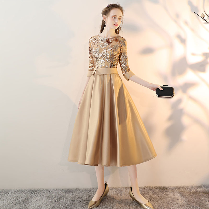 Us 47 84 30 Off Vintage Gold Prom Dresses Scoop Neck Half Sleeves Tea Length Formal Party Evening Sequins 2019 Women Short Gowns In