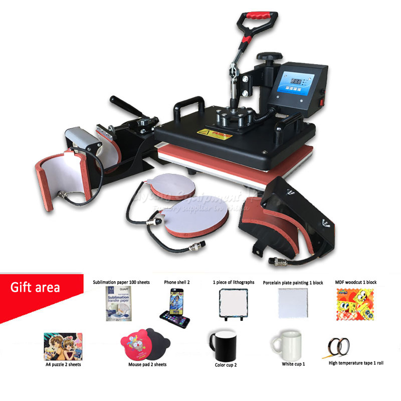 6 in 1 multi-function heat press machine Heat transfer phone shell color changing cup T-shirt baking cup machine E10068 digital heat transfer baking cup machine single display quaff