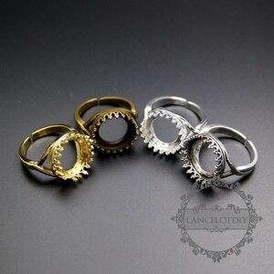 Регулируемое кольцо с круглой короной, 14 мм, золотое, серебряное, бронзовое, старинное, серебряное, 1210012