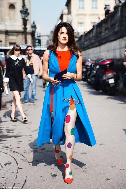 17 fashion multicolour large polka dot color block stockings fashion personality thin pantyhose