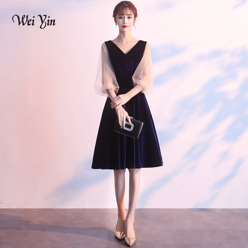 Cocktail Dresses Weiyin 2019 New Short Cocktail Dresses Black Long Sleeved High-neck Tea-length Velour Formal Gown Robe De Soiree Wy1494
