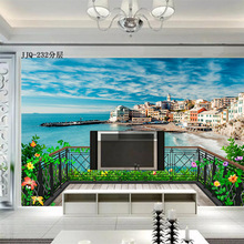 Seascape wallpaper sofa TV background wall paper modern minimalist beach creative large mural customized household space scenery