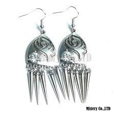 Tibetan Silver Color Carved Shields Fashion Vintage Drop Dangle Earrings Wholesale Jewelry Jewellery Gift For Women