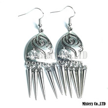 Tibetan Silver Color Carved Shields Fashion Vintage Drop Dangle Earrings Wholesale Jewelry Jewellery Gift For Women Girls