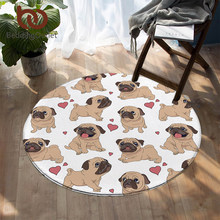 BeddingOutlet Hippie Pug Round Carpets For Living Room Animal Cartoon Area Rug Cute Bulldog Floor Mat for Kids Bedroom Play Mat(China)