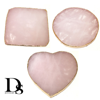 Wholesale Natural Rose Quartz Coaster Heart Round Square Crystal Platter Electroplated Gold Color Jewelry for Cup Mat Display