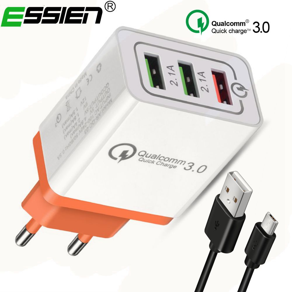 Essien Travel Wall Quick Charger 3.0 Micro usb cable Fast phone charger 3 Port 5V 3A 2.1A For Samsung Galaxy S8 For Iphone X