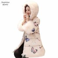 New Arrival Winter Coats Women Winter Jackets Fur Hooded Print Wadded Parkas Female Cotton Padded Girls