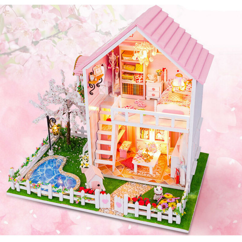 New Doll House Toy Miniature Wooden Doll House Loft With: Aliexpress.com : Buy NEW DIY Wood Doll House Cherry Trees